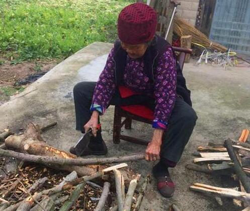 漢壽91歲老太一口氣砍20多捆柴火不喊累